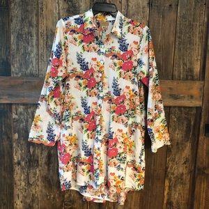 Tulip, S, Cotton Floral Shirt Dress w/Tuxedo Back